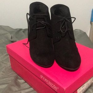 Black wedges with laces never worn!